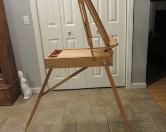 NICE wood art artist box with built in easel,  hinged lid and claps-  solid, functional, artist gift- FREE SHIPPING