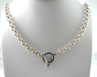 Amazing Sterling Silver 18 inch 7mm Rolo Choker Necklace with Toggle Clasp