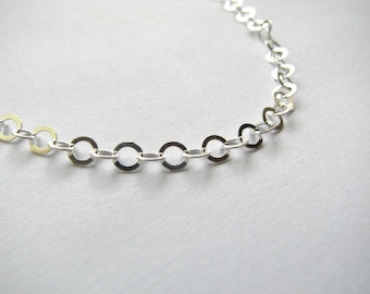 Sterling Silver 4mm Flat Cable Link Chain Necklace 28 inch, Layering Chain Long Necklace
