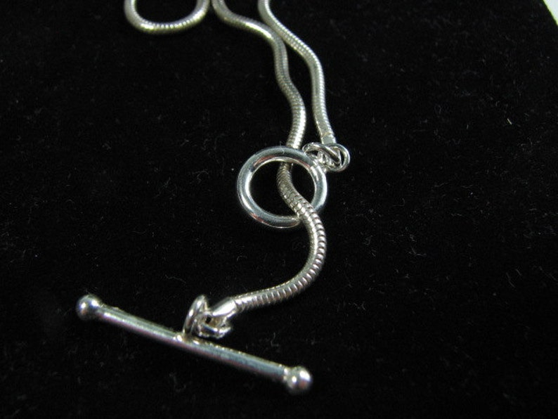 22 inch Sterling Silver 2mm Snake Chain Necklace with Toggle Clasp