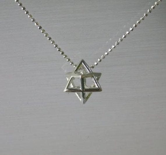 Merkaba Sterling Silver 925 Star of David Pendant-New