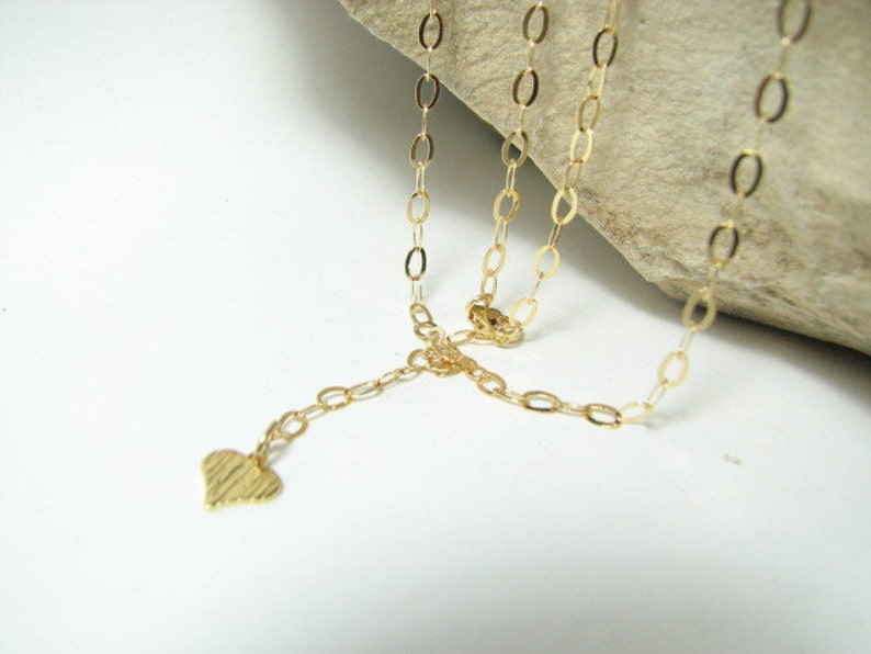 14K Gold filled Body Belly Chain with Heart Charm 40 inch Adjustable Gold Fine Oval Link Cable Chain with a cute brushed heart pendant