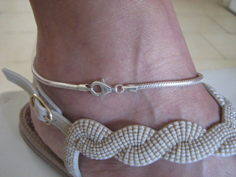 Silver Ankle Bracelet Solid 925 Suitable for European Charm Beads Sterling Silver 3mm Snake Chain Anklet