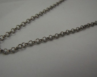 28 inch Sterling Silver Oxidized Rolo Chain 2.5mm with Lobster Clasp