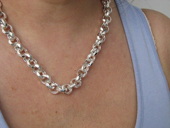 Sterling Silver 24in 8mm Antiqued Oval Link Necklace Chain