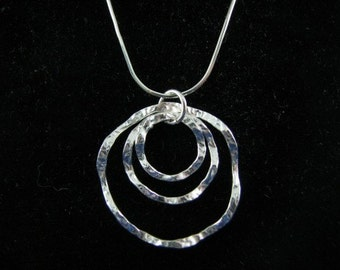 Three Eternity Circles of Life Hammered Sterling Silver Link Necklace