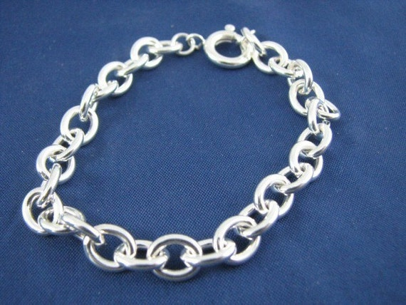 Charm Bracelet Thick Chunky Heavy 5 mm 925 SS b100 done hp 6 6.5 7 7.5 8 8.5 9 9.5 10 Sterling Silver Rolo charm bracelet jewelry