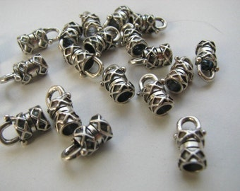 12 pcs 4mm Sterling Silver Crimp End Caps chains and cords