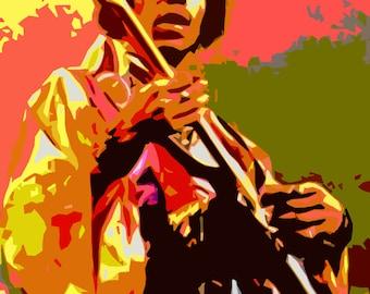 Original Jimi Hendrix Pop Art 1960s Print Modern Art Postcard