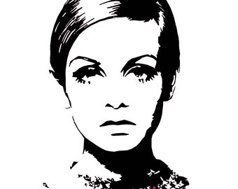 Original Twiggy 1960s Fashion Pop Art Print Modern Art Postcard