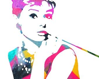 Audrey Hepburn - Graffiti Street Art Design - JPEG Digital Downlaod for Printing