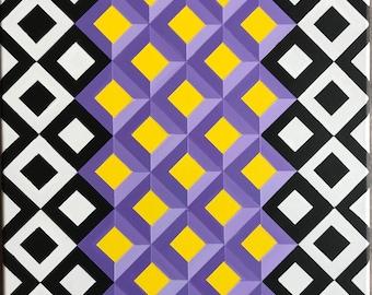 Original Modern Geometric Op Art Canvas Painting