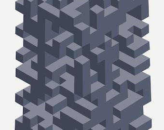 Original Geometric Op Art Architecture Print Modern Art Postcard