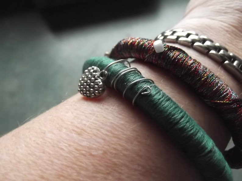 2 Slip On Bangle Bracelets Green wWire Wrap and Heart Charm and Multi-Colored wBeads-Fits Most-Re-Purposed Materials