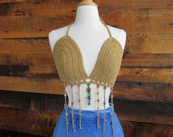 Vintage Deadstock 90s Light Brown Tan Taupe Beige Festival Crochet Sheer Mesh Beaded 3-D Flower Cotton Crop Tie Halter Top One Size