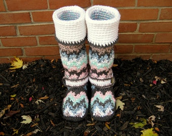 Crochet Boots, Patterned Boots, Boots, One of a Kind Boots, Knit Boots, Colorful Boots, Zig Zag Boots,