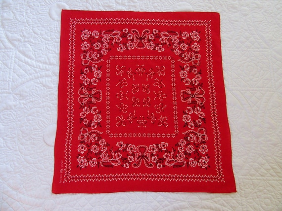 Pristine, Elephant Brand Red Bandana, Trunk Down,