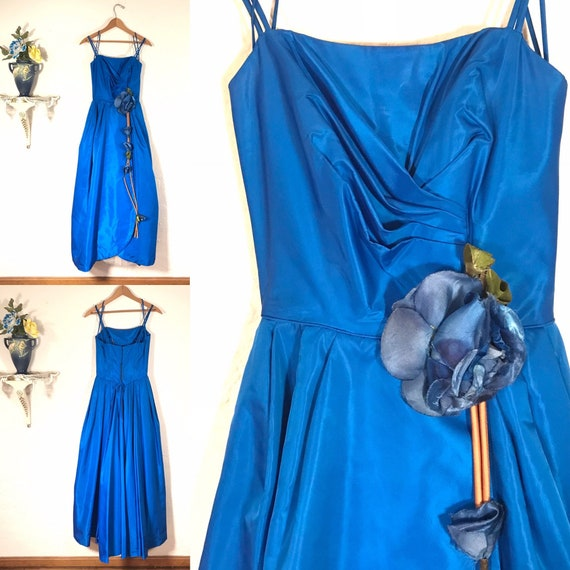 Vintage 1950's Royal Blue Silk Prom Dress C1090