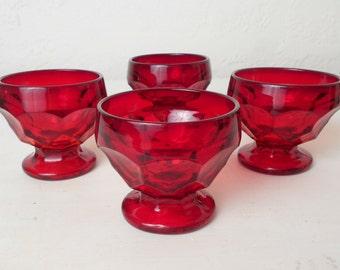 Viking Glass Georgian Ruby Red Sherbet / Dessert Bowls, Set of Four #324