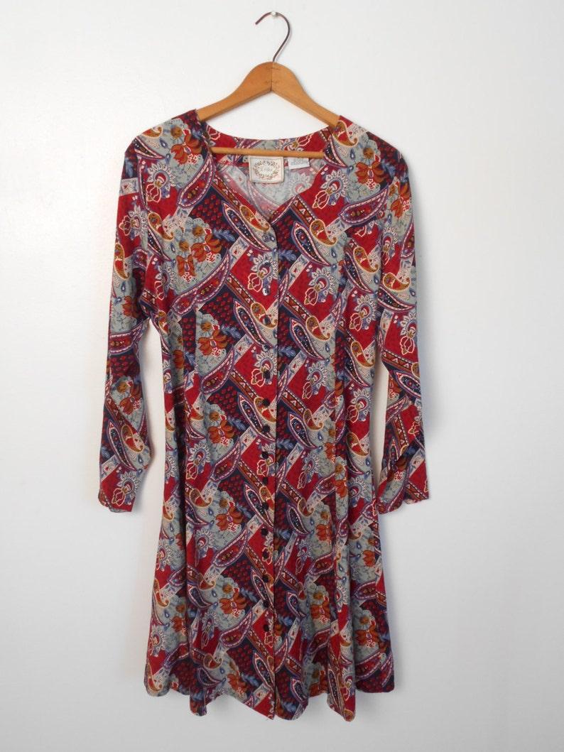 60fb70f2fb39 Vintage Vibrant 90's Paisley Rayon Print Dress by Erika   Etsy