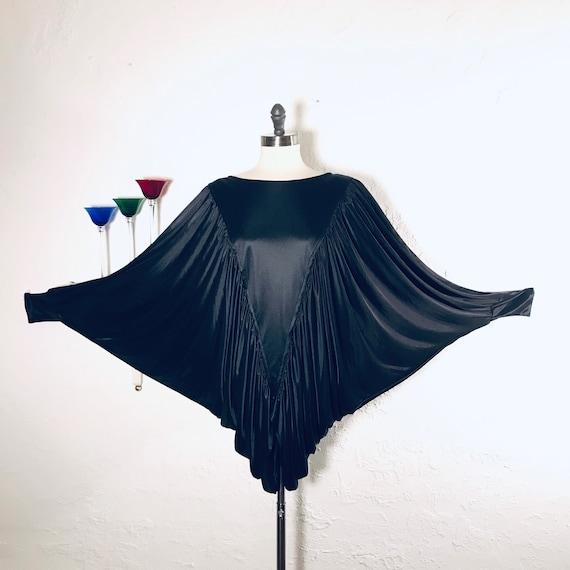 Vintage Black Disco Bat-Wing Blouse C1052