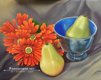 Still Life with Pears and Gerber Daisies Original Art Print