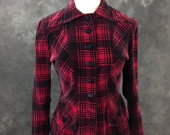 Vintage 1940's plaid velveteen jacket Mickey Miss Fox black and mulberry