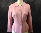 Vintage 1950 39 s pink rayon jacket rhinestone buckle by Kirkland Hall 28 quot waist
