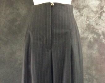 "Vintage 1990's pants Richard Tyler grey pinstripe high waist wide legged pants trousers 28"" waist"