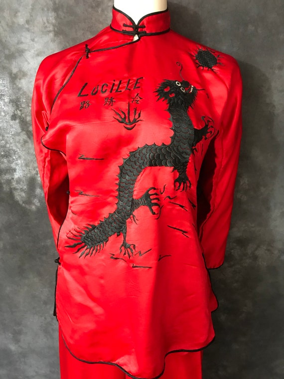 Vintage 1930's 1940's Lucille's Chinese red silk s