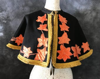 Victorian mantle autumn leaves black and orange