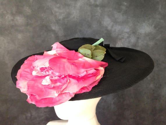 Vintage 1930's wide brim black cartwheel hat