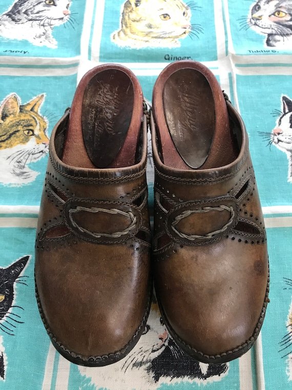 Vintage 1970's brown clogs Alfiero Alaccanti US 9