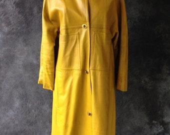 1960's Bonnie Cashin yellow ochre leather coat