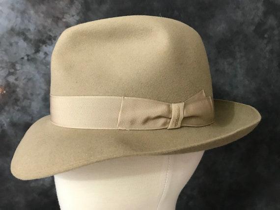 Vintage 1980's Beige Borsalino fedora hat