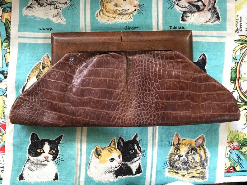 hur man köper billigaste priset köp på nätet Vintage 1950's 1960's croc embossed brown leather pointy flats 6 ...