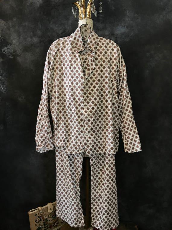 Vintage 1960's flannel pyjamas pajamas