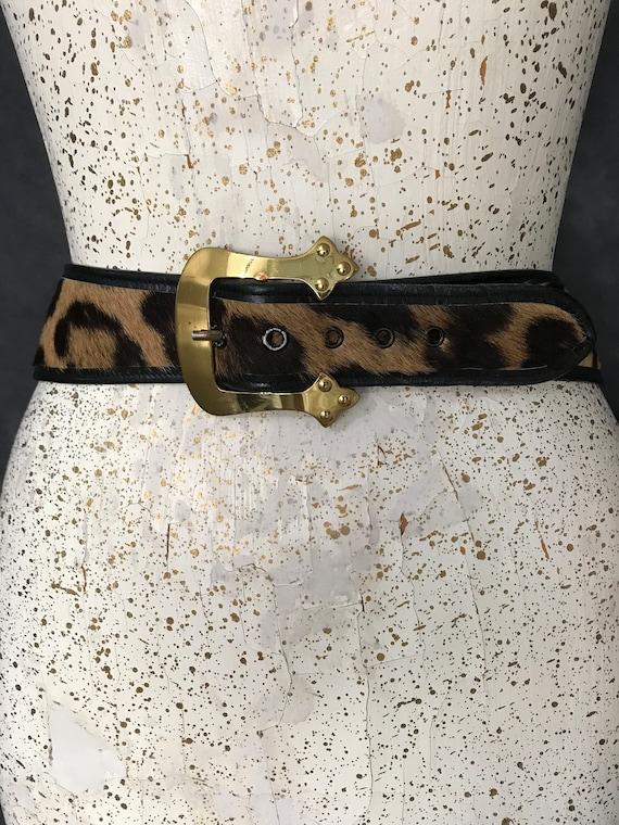 1950's Leopard print fur belt