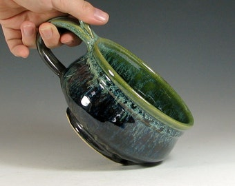 MTO Set of 4 Made to order Soup mug 4-6 week ceramic, handled bowl for chili, glazed in metallic gray green