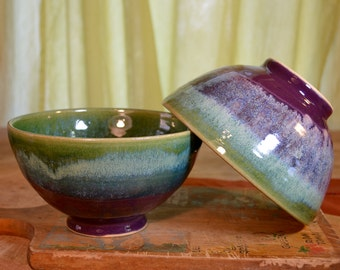 Set of 4. Made to Order 4-6 weeks Bowl ceramic, serving stoneware, cereal bowl, glazed in purple green, handmade by hughes pottery