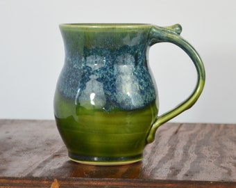 MTO set of 4 Coffee mug ceramic, tea cup stoneware, glazed in green and blue, artisan table