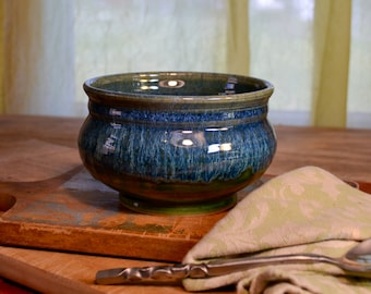 Ceramic bowl, serving cereal, soup dessert, stoneware tableware, glazed in green blue, handmade by hughes pottery