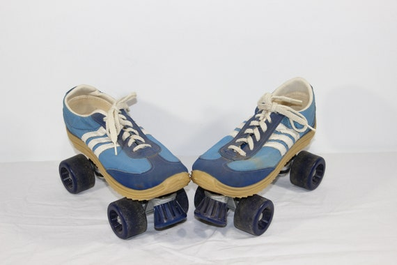 1970s Adidas Nash Cruisers Blue Tennis Shoes Roller Skates, Womens Size 12, Men's Size 10