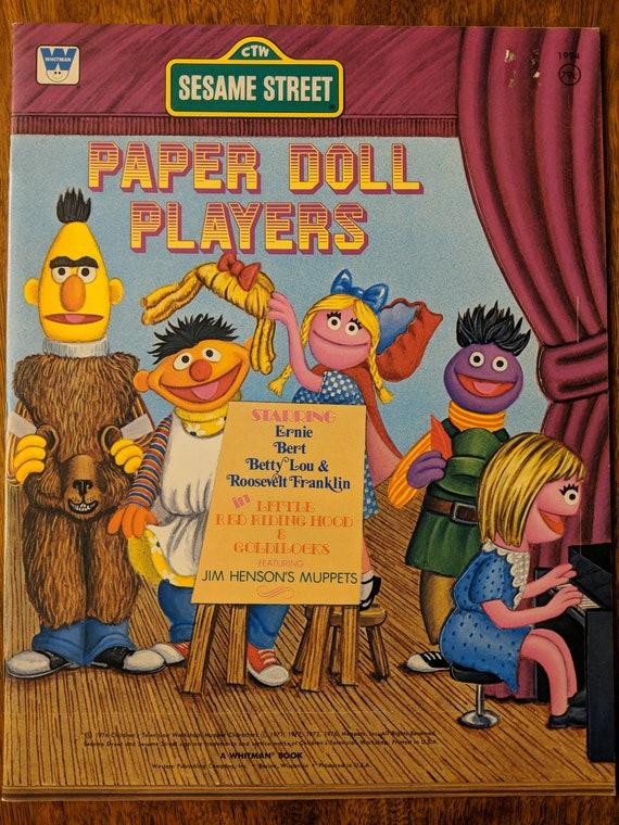 Sesame Street, Bert, Ernie, Betty Lou & Roosevelt Franklin Vintage Paper  Dolls Whitman Book- 1970s 1976 Muppet Characters- uncut