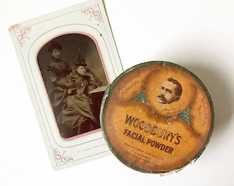 Late Edwardian / early 1920s large Woodbury's Facial Powder box | still full and with pamphlets