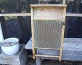 primiTive WaShBoArD CabineT-EXTREMELY RARE-old lion head knoB-brass HoneYcomB scruB board with greaT paTina-SO aWeSoMe-MusT See