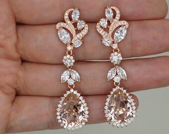 Crystal Bridal earrings, Blush Wedding Earrings, Rose Gold chandelier earrings, Swarovski Crystal Bridal Jewelry,leaf stud earrings
