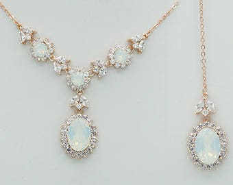 Back Drop Necklace, Backdrop Wedding Necklace, White Opal Necklace, Swarovski Crystal Jewelry for Brides, Y Necklace, Rose gold and silver
