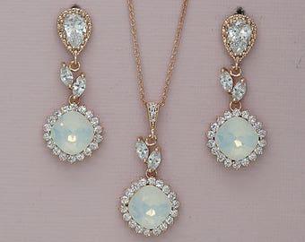 Bridesmaid Jewelry set,Wedding Jewelry set, Bridesmaid Earrings, Swarovski Jewelry, Rose Gold Jewelry  for Brides, Bridesmaids Gifts