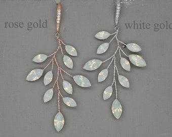 Vine Earrings, Silver Wedding Earrings, Rose gold Earrings, Twig Earrings,Leaf Earrings, White Opal Swarovski Rhinestone Bridal jewelry
